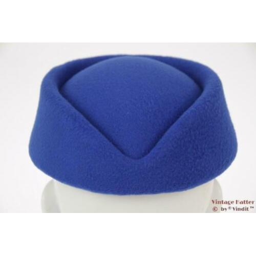 Stewardessen pillbox hoedje blauw 54-59 nieuw One size fits