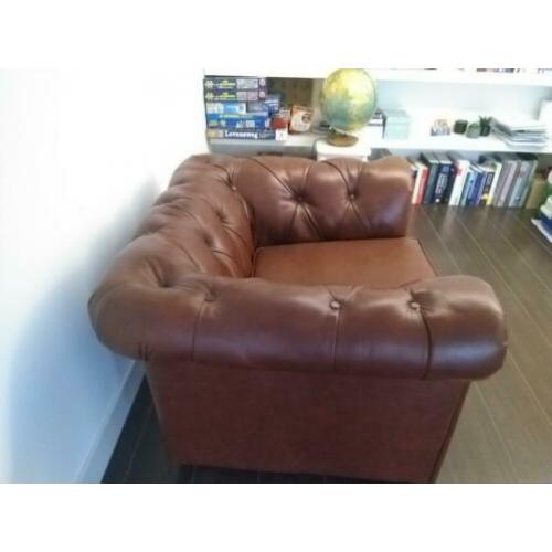 Chesterfield fauteuil stoel rood bruin leer